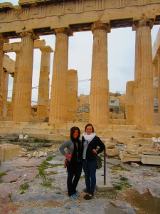 Karen & I in front of the Temple of Zeus -- Athens, Greece