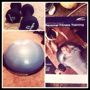 Got a BOSU ball and free weights for Christmas! Feels great to keep fit in my own home! PS, did I mention I'm getting my personal training certificate? ;)